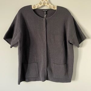 NWT Eileen Fisher Short Sleeve Silk Blend Cardigan
